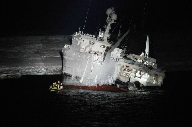 Challenging conditions: The fishing vessel «Northguider» ran aground in Hinlopen Strait in Svalbard on the December 28. The crew of 14 was brought to safety after a challenging rescue mission. It took 1.5 years before the abandoned ship was removed.
