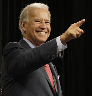 Joe Biden stammer. Han vant nettopp valget om å bli president i USA.