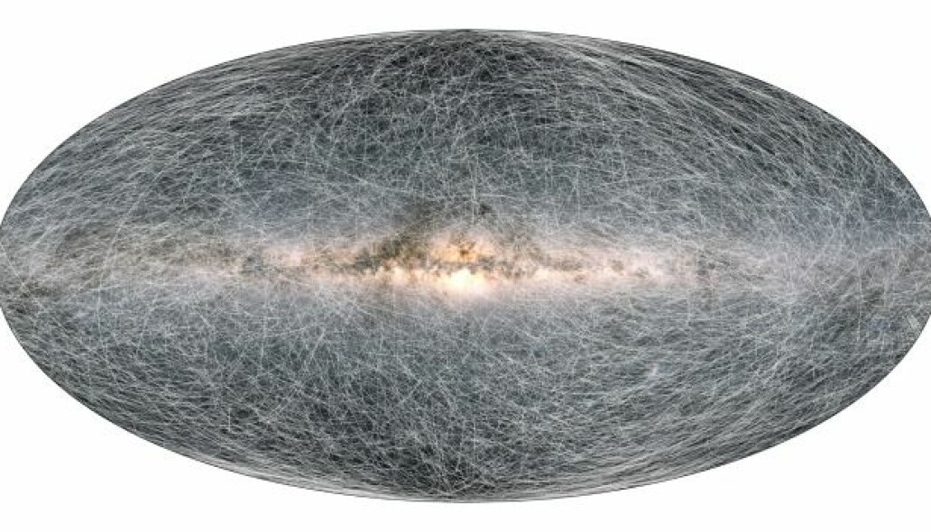 This is exactly what a simulation of more than a billion stars looks like and how they move in the galaxy over the next 400,000 years seen by Gaia.