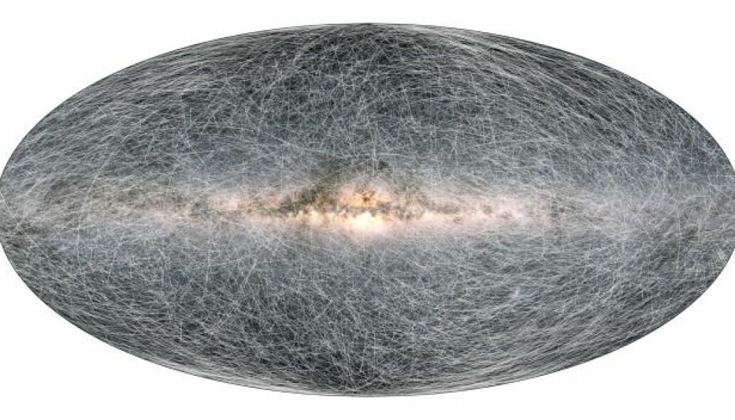 Slik ser altså en simulering ut av godt over en milliard stjerner, og hvordan de beveger seg i galaksen i de neste 400 000 årene, sett av Gaia.