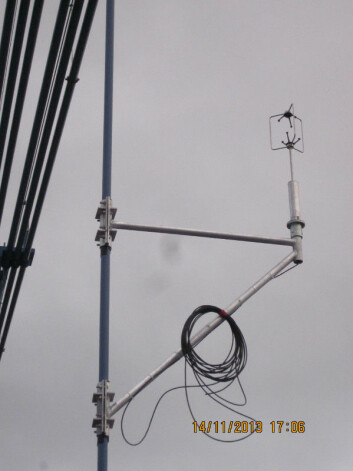 Ultralydanemometer for vindmåling på Lysefjordbroen. (Foto: Jasna B. Jakobsen)