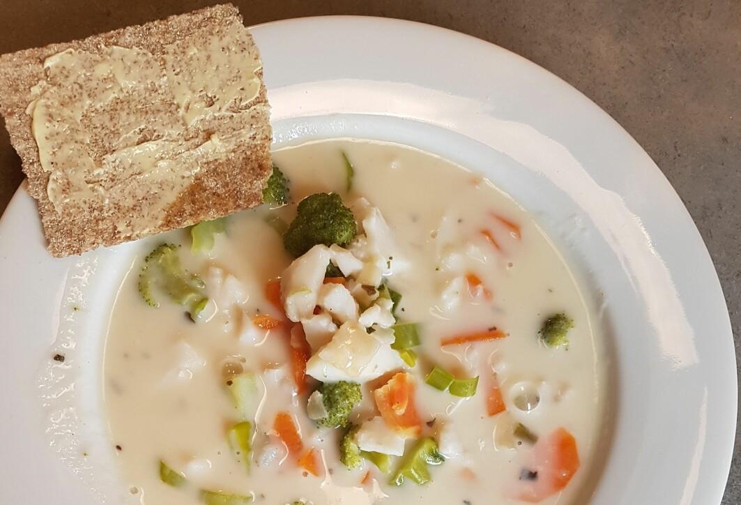 Tradisjonell fiskesuppe. Nå utvikler vi en persontilpasset suppe som er beregnet for personer med tygge- og svelgevansker og som har et høyt proteininnhold