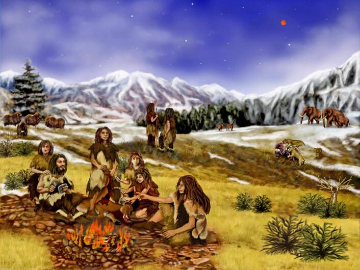 En kunstners forestilling av en gruppe neandertalere i fjell-landskap. (Foto: (Illustrasjon: NASA/JPL-Caltech))
