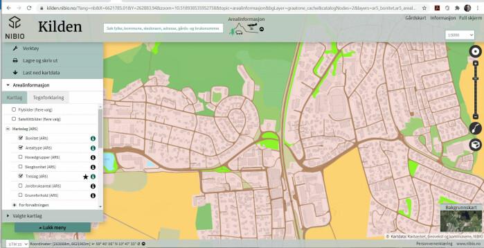 Skjermdump fra Kilden, avanserte digitale kart hos NIBIO som samler nasjonale kartdata. Kartet er åpent for alle og viser også kart og flyfoto i tre dimensjoner