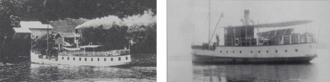 Til venstre D/S Lillehammer fra cirka 1920 og M/B Kvikk fra cirka 1930).