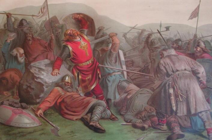 Olav den Helliges død i slaget på Stiklestad, malt av Peter Nicolai Arbo i 1859. (Foto: Wikimedia Commons)