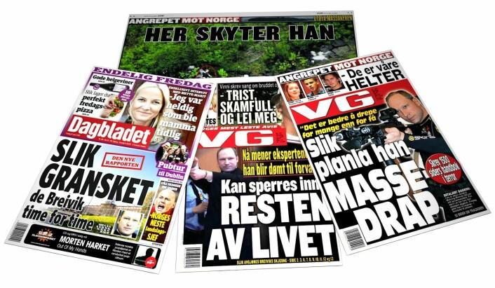 Det er vanskelig å unngå sterk informasjon i mediene. For noen kan det bli for mye. (Foto: (Faksimiler: VG 24.7.2011 og 11.4.2012, og Dagbladet 13.4.2012. Montasje: Per Byhring))