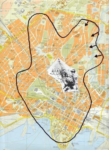 """""""Denne illustrasjonen viser hvor stort raset er målt mot Oslo sentrum. Den sorte streken er konturene av raset. Utklippet i midten er basen i riktig størrelse. (Illustrasjon: Johnny Skorve)"""""""
