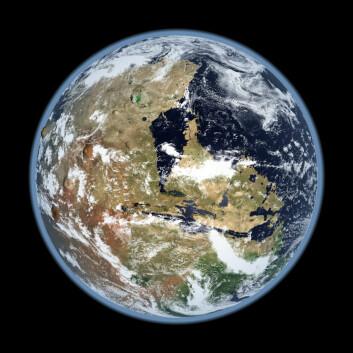 Slik kan det ha sett ut: Én av Kevin Gills illustrasjoner av Mars med en fungerende atmosfære. (Foto: (Illustrasjon: Kevin Gill))