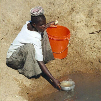 Kvinne henter forurenset drikkevann i landsbyen Mwamanongu i Tanzania. Foto: (Foto: Bob Metcalf, Wikimedia Commons)