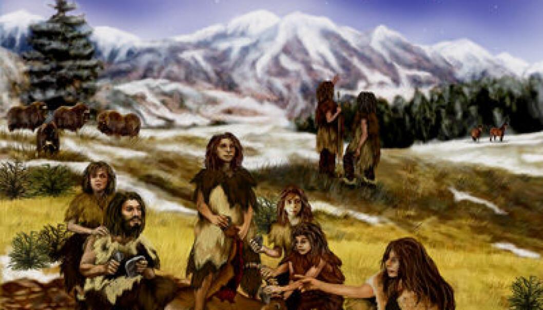 En kunstner forestiller seg en gruppe neandertalere. (Illustrasjon: NASA/JPL-Caltech)