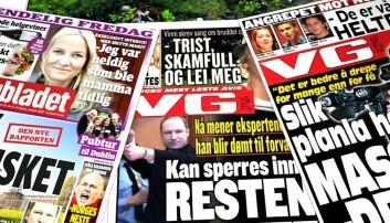 En god dekning av rettsaken er viktig for tilliten til rettssystemet. (Faksimiler: VG 24.7.2011 og 11.4.2012, og Dagbladet 13.4.2012. Montasje: Per Byhring)