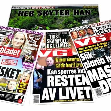En god dekning av rettsaken er viktig for tilliten til rettssystemet. (Foto: (Faksimiler: VG 24.7.2011 og 11.4.2012, og Dagbladet 13.4.2012. Montasje: Per Byhring))