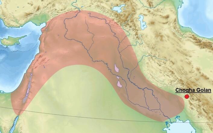 Chogha Golan ligger i Iran, helt ved den fruktbare halvmånes østlige grense. (Foto: (Bilde: Sémhur/Wikimedia Commons/forskning.no))