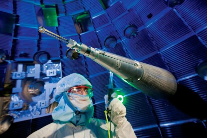 Forskere ved National Ignition Facility i USA har for første gang klart å høste mer energi enn de sender inn i et fusjonskraftverk. (Foto: Lawrence Livermore National Laboratory)