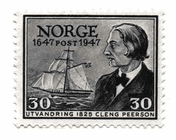 A stamp featuring Cleng Peerson from 1947.