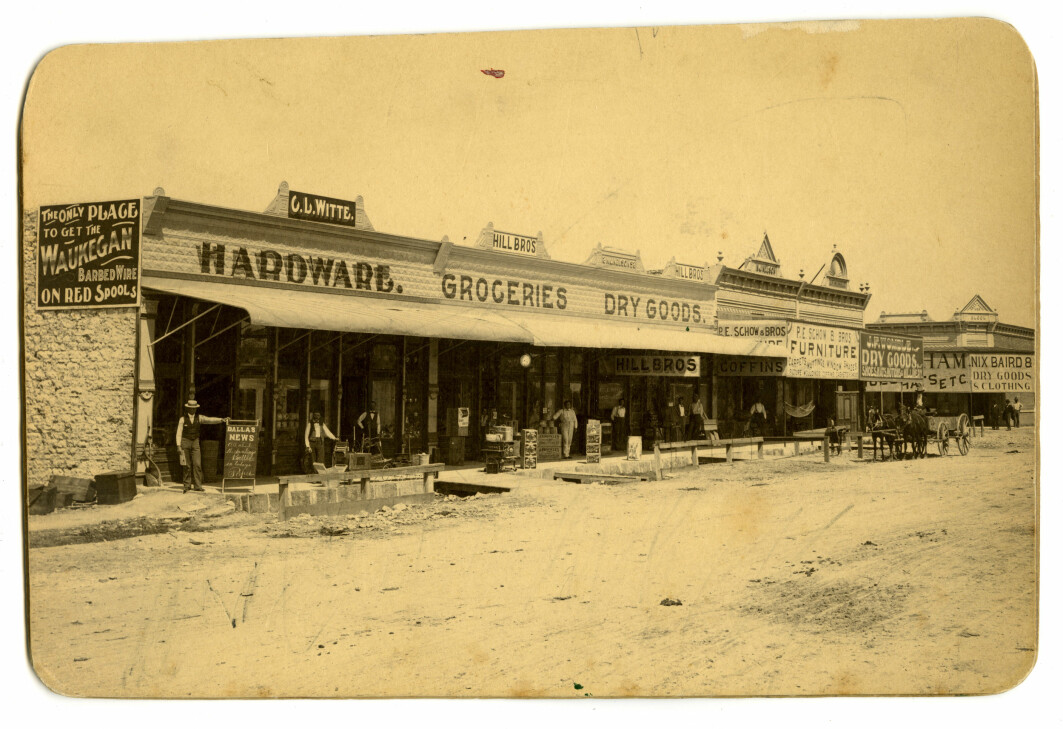 The main street in Clifton, Texas, 1898. After the railroad came through the Bosque Valley in 1881, Norwegian immigrants and all others got an excellent connection with Galveston in the south and Fort Wort/Dallas in the North. Clifton became the most important town in the county. Several of the businesses along the street were operated by Norwegian and German immigrants.