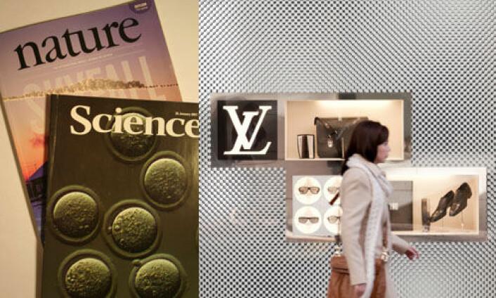 Er tidsskrifter som Science og Nature forskningens svar på designervesker, ved at de lages i begrenset antall for at statusen som luksusprodukt skal opprettholdes? Nobelprisvinner med kraftig kritikk. (Foto: Asle Rønning og iStockphoto.com)