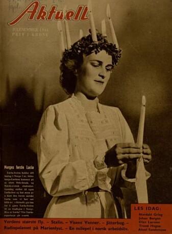 Norges første Lucia på forsiden av ukebladet Aktuell.