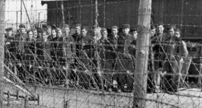 Sovjetiske krigsfanger bak gjerdet i Falstadleiren 8. mai 1945. Bildet er sannsynligvis tatt like etter at de norske fangene forlot leiren. (Foto: Falstadsenteret)
