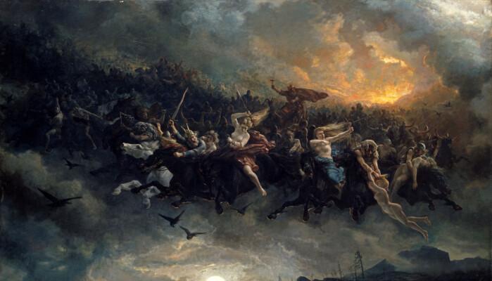 L'entourage di Lucy è simile a Åsgårdsreia, che ha ispirato molti artisti.  Questo era uno stormo di fantasmi e altre creature soprannaturali che volavano nell'aria nel periodo natalizio.