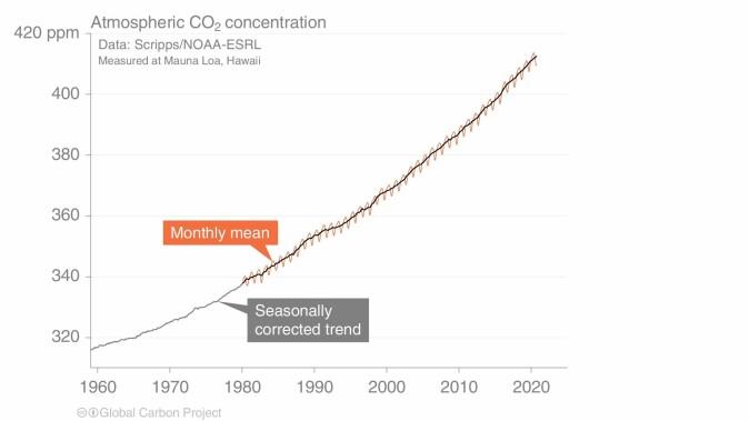 Utviklingen til CO2-konsentrasjonen i atmosfæren fra 1960 og frem til nå.