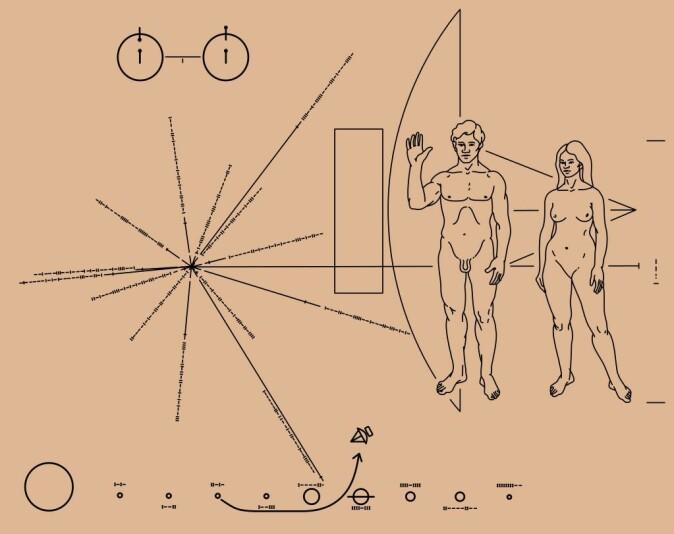 Romfartøyene Pioneer 10 og 11 tok med en metallplate med illustrasjoner som kunne brukes til å identifisere fartøyenes opphav. Hjernen bak var den legendariske astronomen Carl Sagan, som ønsket at enhver fremmed sivilisasjon i verdensrommet skulle kunne regne ut hvem som hadde skapt romfartøyet og hvordan fartøyets opphavsmenn kunne kontaktes.