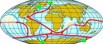 """""""De store havstrømmene kan skjematisk omtales som at varmt vann strømmer fra ekvator mot polene, undervegs blir de avkjølt. Det kalde og salte vannet ved Arktis presses nedover til havbunnen og mot sørlige breddegrader. Havstrømmen blir gradvis varmere jo lenger sør den kommer og avgir en nedkjølende effekt til omgivelsene. Her vil det varme vannet presse seg oppover til overflaten og på ny ta retning mot nord langs vannoverflaten. Kilde: Svein Østerhus."""""""