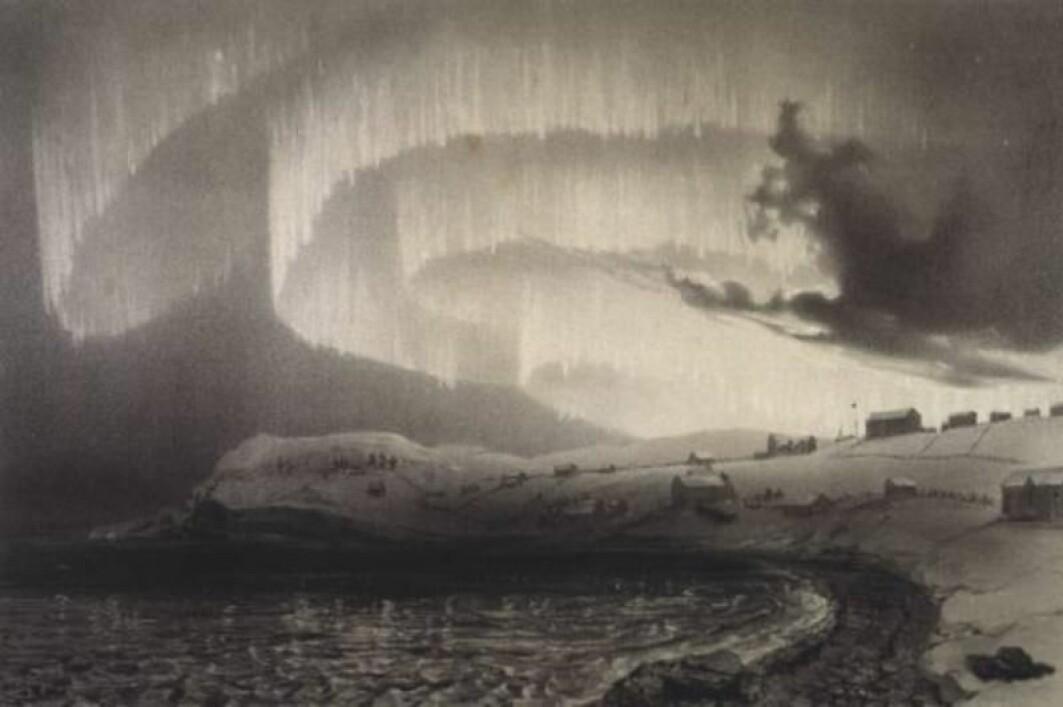 I tida før man kunne fotografere nordlyset, måtte det skildres på andre måter. Her et litografi av Louis Bevalet laget under La Recherche-ekspedisjonen i Finnmark på 1830-tallet.