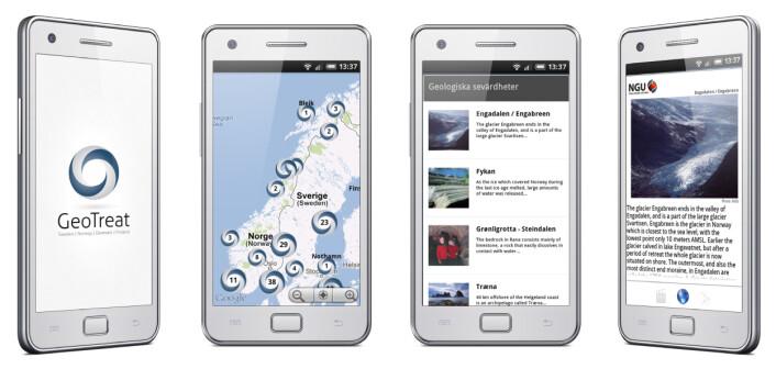 Mobil-appen Geotreat. (Foto: (Ill.: SGU))