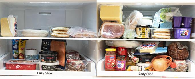 I bildet til venstre ser du et ideelt stablet kjøleskap. I det høyre bildet er det både for fullt, og noen varer, som grønnsakene trives bedre lavere ned i kjøleskapet, helst i grønnsaksskuffen.