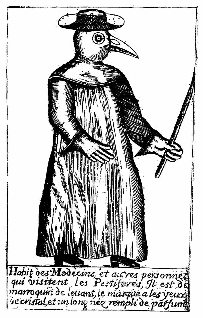 En pestdoktor er forsideillustrasjon på boken Traité de la peste av Jean-Jacques Manget (1721).
