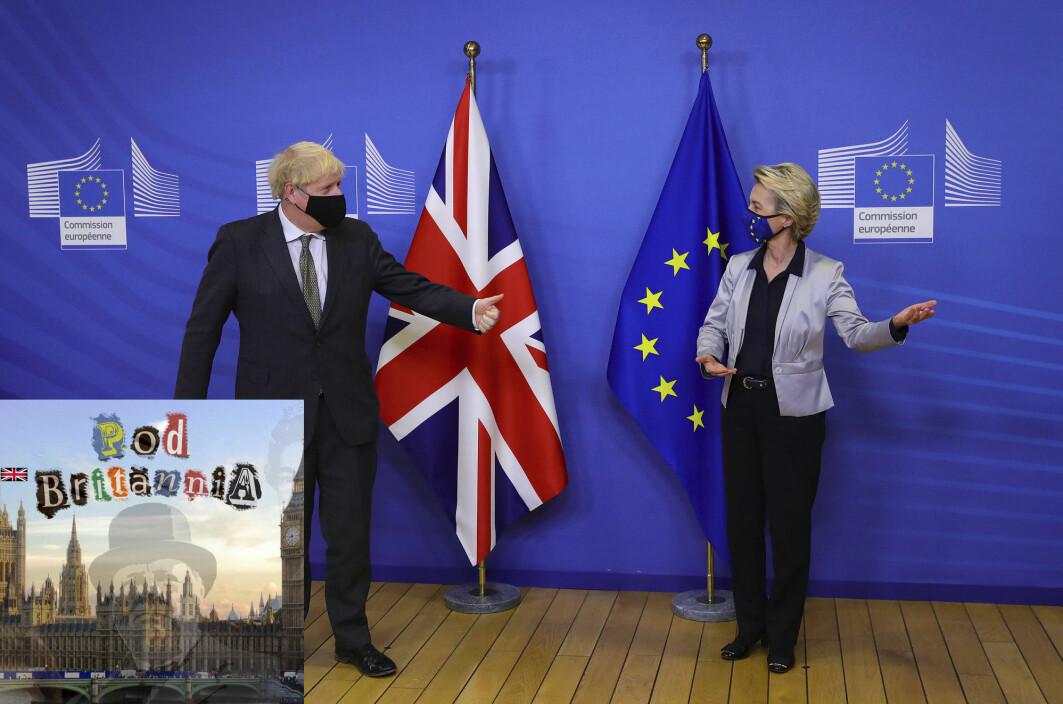 Storbritannias statminister Boris Johnson er i forhandlinger med presidenten for EU-kommisjonen Ursula von der Leyen. Her møtes de i Brussel 9. desember.