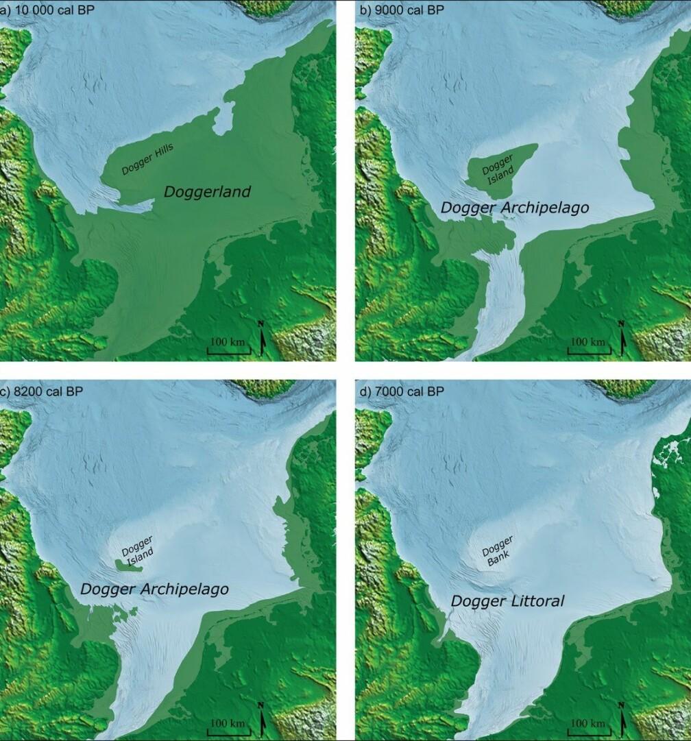 Kartet viser en sannsynlig utvikling av Doggerland de siste 10 000 årene. Dette er et landområde som bandt Storbritannia og Danmark sammen. For rundt 8200 år siden hadde mesteparten av Doggerland sunket i havet, rett før den store tsunamien traff.