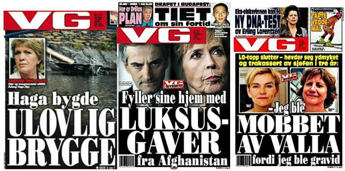 Tre VG-forsider fra medieskandalene til Åslaug Haga, den såkalte gavesaken, og Gerd-Liv Valla. Det karakteristiske ved et mediekjør er imidlertid at det ikke går an å peke ut ett ansvarlig medium eller én journalist – alle mediene løper i flokk og jager samme historie. (Foto: (Faksimiler))