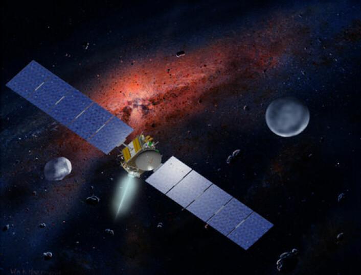 Illustrasjon av Dawn med asteroidebeltet som bakgrunn.  I bakgrunnen er Vesta til venstre og Ceres til høyre. (Foto: (Illustrasjon: NASA-JPL, WK Hartmann, UCLA))