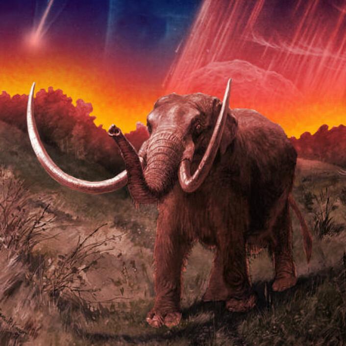 Ble mammutene og andre store dyr utslettet på grunn av et stort meteornedslag? En teori fra 2007 foreslår dette. (Foto: (Figur: NASA/Charles R. Knight/forskning.no, Wikimedia Commons))