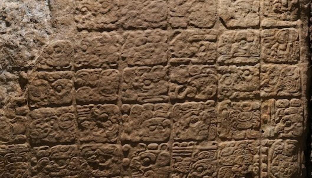 På denne steinblokken fortelles historien om da Jaguarpote kom til La Corona, for 1300 år siden. David Stuart