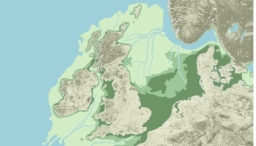 Kartet viser Doggerlands utstrekning i forskjellige tidsperioder. Den lysegrønne delen var sannsynligvis tørt land for rundt 16 000 år siden, og du kan se elvedeltaer og fjell på dette bildet. Etterhvert som havet steg, ble mer og mer av landskapet oversvømt, og det mørkegrønne var tørt for rundt 10 000 år siden.