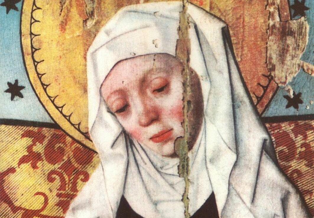 Birgitta fra Sverige var båke helgen og forfatter. Dette bildet er fra altertavlen i Salem kirke, Södermanland i Sverige, som ble malt av kunstneren Hermann Rode på slutten av 1500-tallet