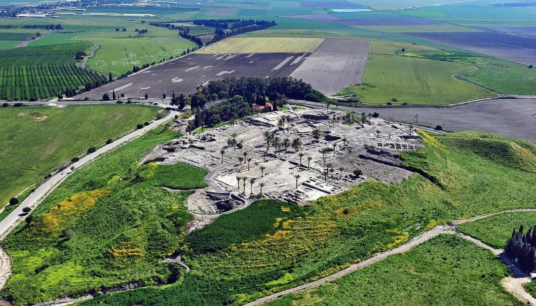Dette er restene av den eldgamle byen Megiddo i dagens Israel. Her er det funnet graver med folk som hadde interessante rester i tennene.