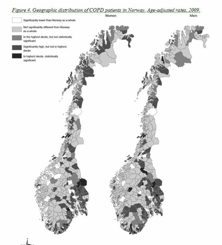 Kartet viser fordelingen av kols-tilfeller i Norge. (Foto: (Illustrasjon: Sintef))