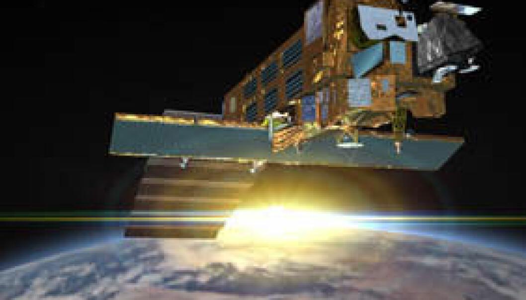 Den europeiske satellitten Envisat. (Illustrasjon: ESA)