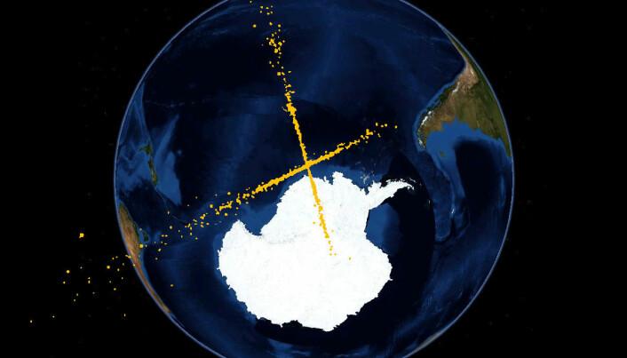 Simulering av romsøppel etter kollisjonen over Sibir i 2009. De gule prikkene er romsøppel.
