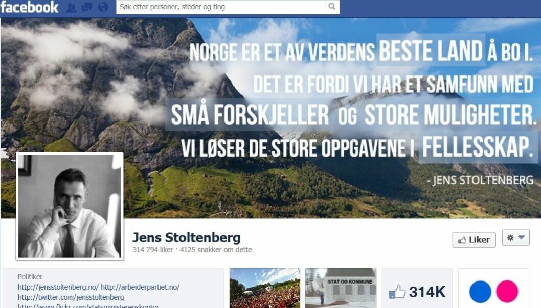De som ikke er interessert i politikk i andre kanaler, bruker heller ikke sosiale medier. skjermdump fra Stoltenbergs Facebookside
