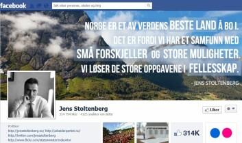De som ikke er interessert i politikk i andre kanaler, bruker heller ikke sosiale medier. (Foto: skjermdump fra Stoltenbergs Facebookside)