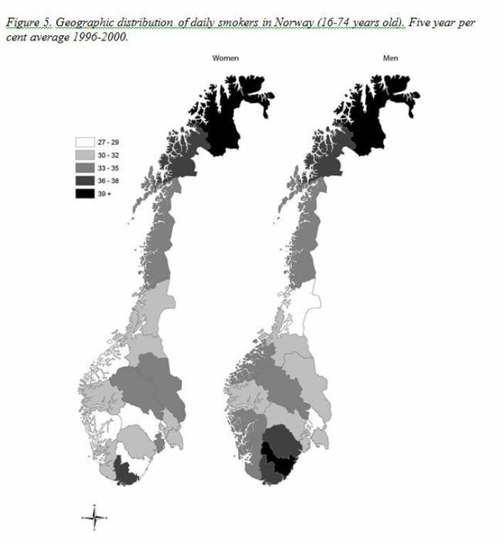 Kartet viser fordelingen av røykere i Norge. (Foto: Sintef)