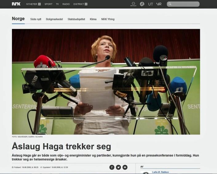 Fra pressekonferansen da Åslaug Haga trakk seg i 2008. (Foto: (Faksimile nrk.no))