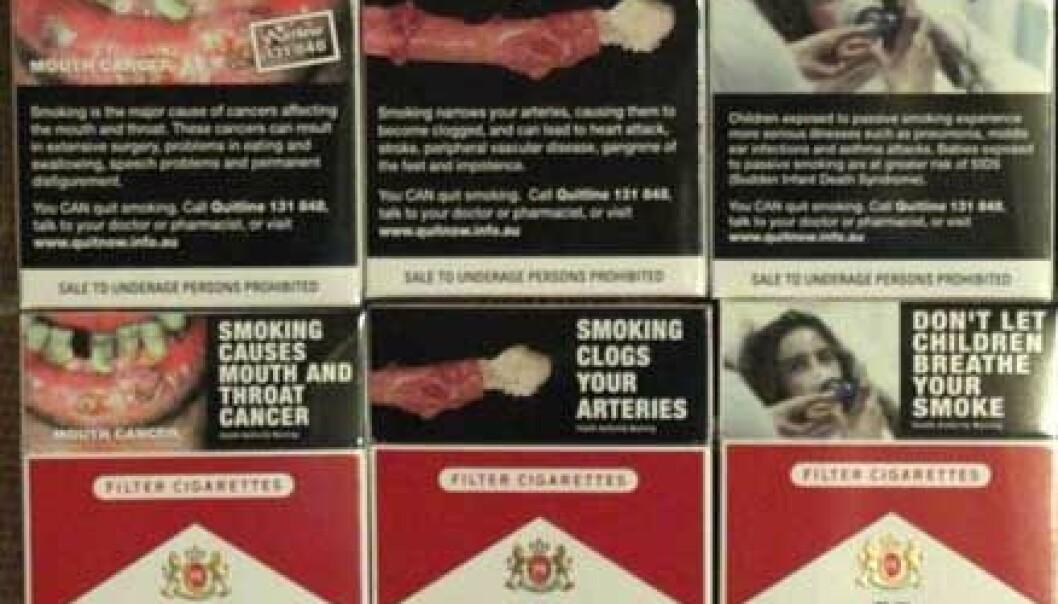 """""""Billedadvarsler ble implementert på kanadiske røykpakker i fjor. Hele baksiden er dekket, pluss toppen av forsiden."""""""
