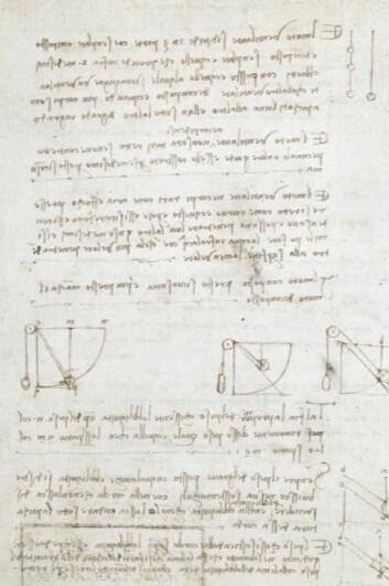 Kan du italiensk og er god til å lese speilvendt skrift? Da kan notatboka til Da Vinci være av ekstra stor interesse for deg. Nå er hele boka tilgjengelig gratis på internett. (Foto: British Library)